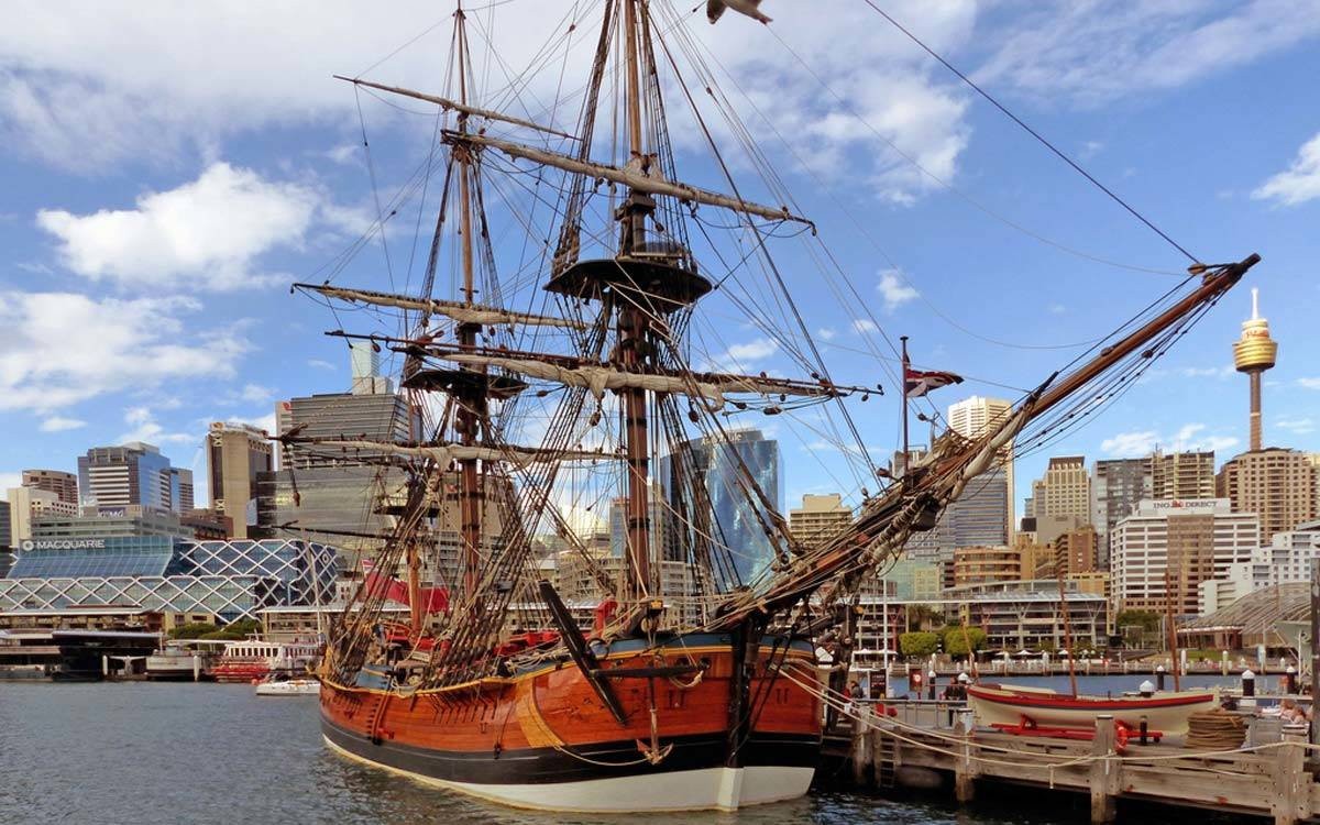 Captain Cooks ship the Endeavour at anchor in Auckland Harbour - Captain Cook Museum in Yorkshire