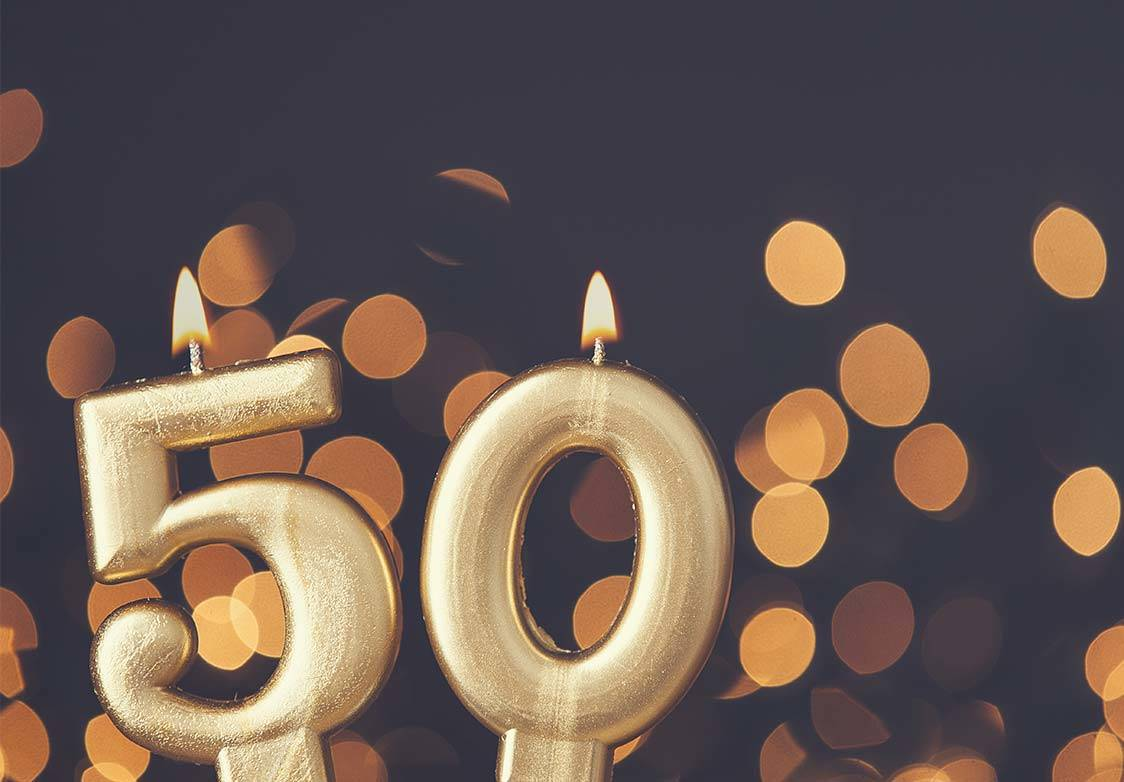 '50' birthday candles
