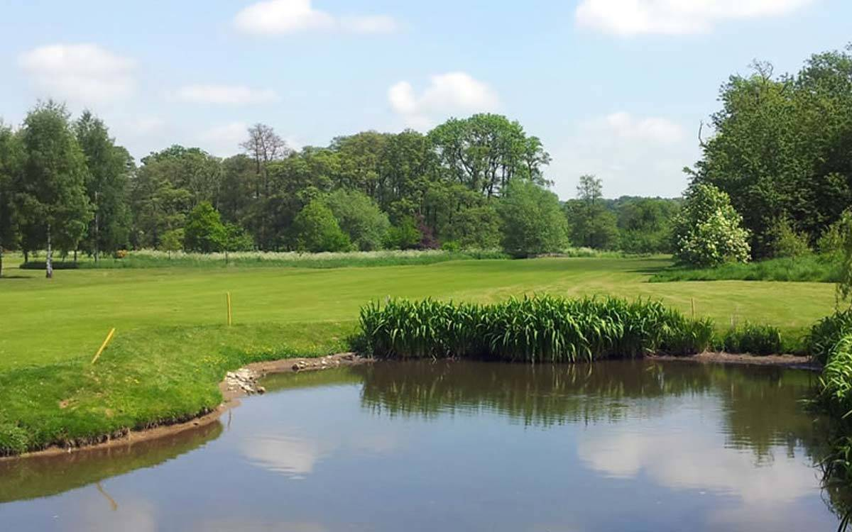 Green and water trap on the Masham Golf Course near Morton House in Masham