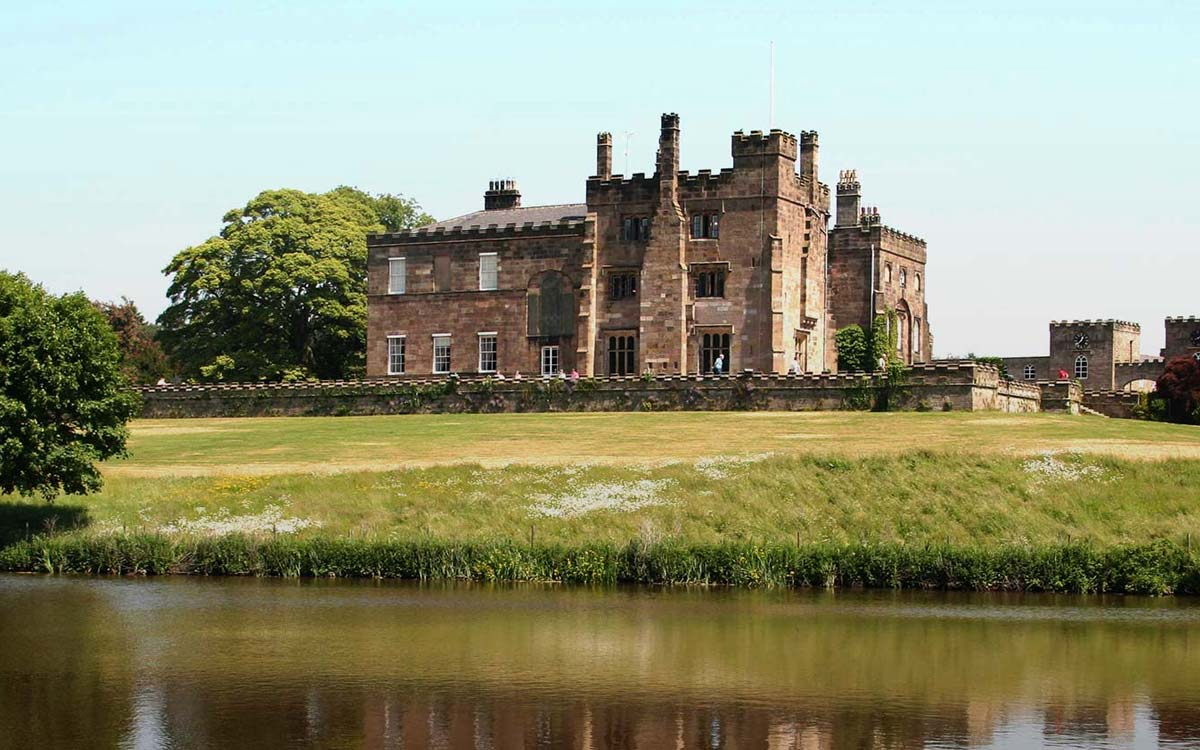 View over the river to Ripley Castle in Yorkshire