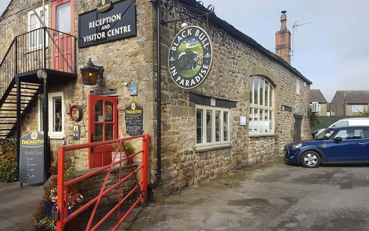 Exterior Theakston Visitor Centre Black Bull in Paradise pub in Masham
