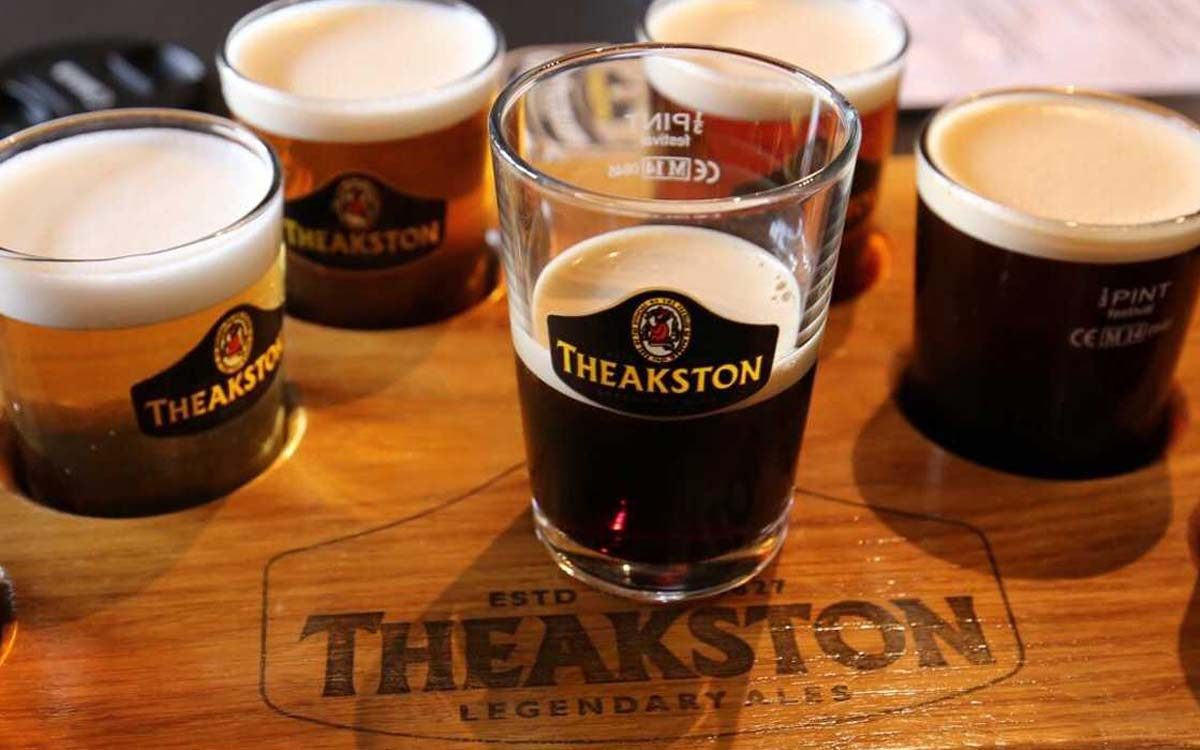 Taster plate of ales at the Theakstons Brewery near Morton House in Masham