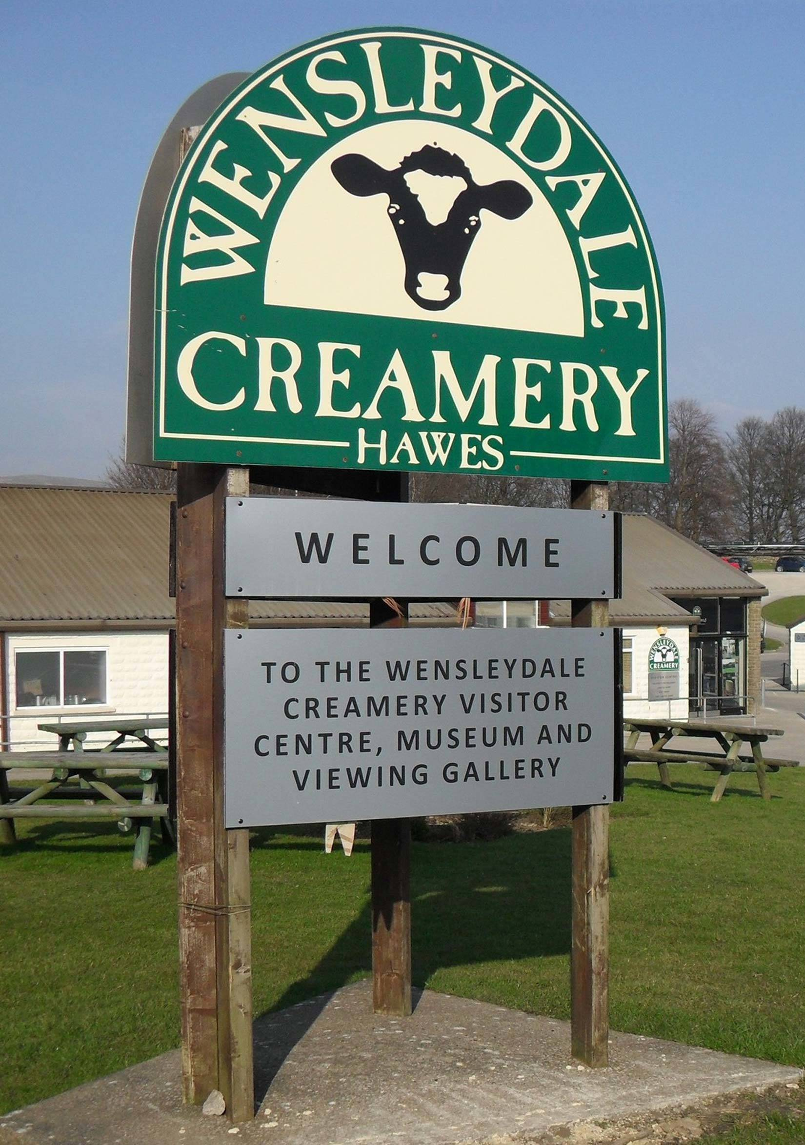 Wensleydale Creamery sign at visitors centre in Hawes near Morton House in Masham