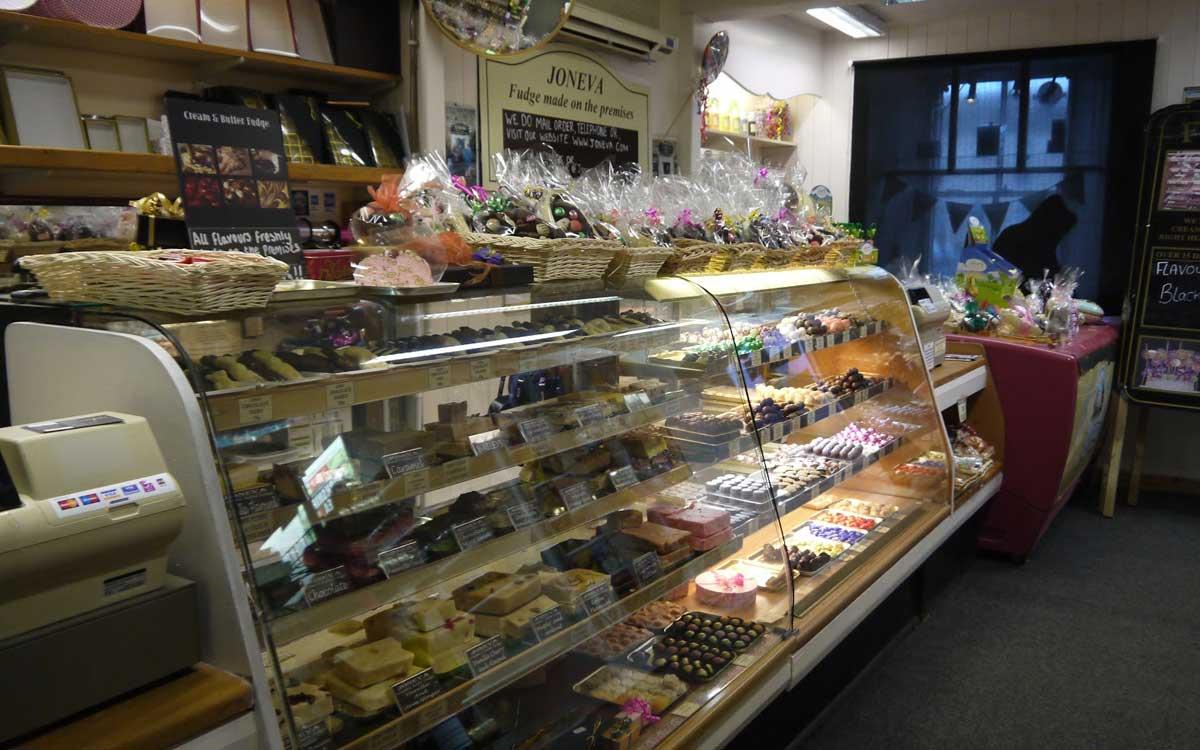 Morton Hosue - inside Joneva sweet shop, a supplier to Morton House