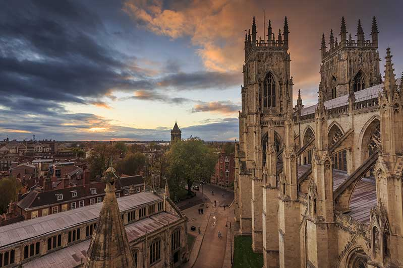 Aerial view of York Minster and York town with a beautiful sky