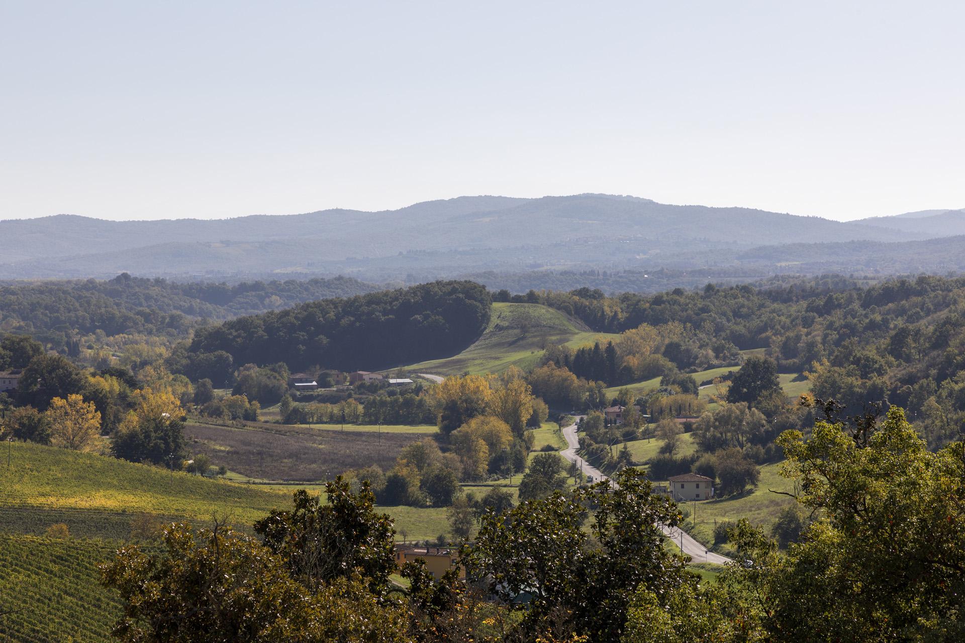 Villa Cicogna view from edge of terrace over Valdarno Valley